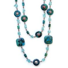 Double Strand Teal Stone Necklace Chrysocolla by ALFAdesigns