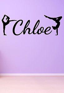 Girls Name Gymnastics Wall Door Personalised Sticker Decal Bedroom ART Decor | eBay