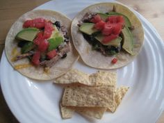 chicken, black bean, avocado tacos
