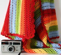 rainbow crochet blanket--simple double crochet, with pretty scallop border.