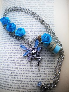 Pixie Dust Necklace - Blue Pixie Dust in a Vial - Cute Mini Bottle - Pixie Dust - Blue Roses by MySoulShards, €13.00 ($17.00)