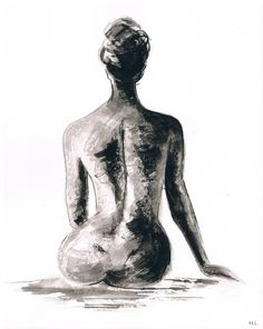 Minimalistic Ink Nude sketch. Minimalistic sketch. by madareli