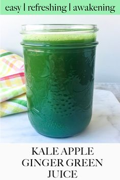 No blender needed for this healthy green juice recipe that's just sweet enough thanks to apple, while still being very healthy. Because of its ginger and celery content, it's also incredible for digestion. #greengingerjuice #kaleceleryapplejuice #greengingerale Ginger Juice, Ginger Ale, Juicing With A Blender, Green Juice Recipes, Nut Milk Bag, Bean Burger, Burger Recipes, Raw Vegan, Healthy Drinks
