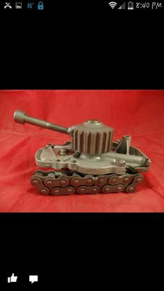 """Tank made from a car water pump. Please see my facebook page - Search """" American Metal Art """""""