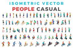 Vector Casual People Isometric Flat by Sentavio on @creativemarket
