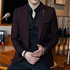 Plus Size Slim Fit Mens Blazer Vintage Suit Jacket Men Chaqueta Hombre Autumn Blazer Hombre Blazer Masculino Completo Vintage Suit, Terno Slim, Blazer Outfits Men, Men Blazer, Mens Blazer Styles, Blazer Dress, Men Dress, Casual Outfits, Designer Suits For Men