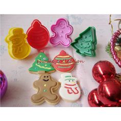 4pcs/set Christmas Ginger Bread Tree Snowman Jingle Bell Decor Cake Plunger Mold Fondant Pastry Cookies Cutter Baking Mould