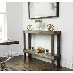 The Del Hutson Rustic Luxe 58 in. Wooden Sofa Table brings warmth and rustic style to a long wall or behind your sofa. This sofa table has a very simple. Rustic Console Tables, Narrow Console Table, Sofa Tables, Rustic Table, Coffee Tables, Narrow Entry Table, Narrow Entryway, Entryway Ideas, Living Room Furniture