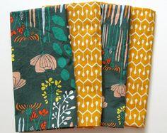 Cloth Napkins - Set of 4 - Large Dinner Napkins, Table Napkins - Mismatched, Assorted, Variety - Green, Orange