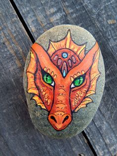Fire Element DRAGON Totem Hand Painted Beach by LotusandNightshade