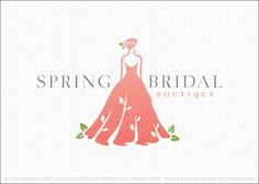 Logo for sale: Beautiful natural stylized bride posing. The folds in the brides wedding dress creates flowing vines with leaves to add a natural and organic touch to the design. A single rose is created with the brides hair style. A touch off green leaves complete this spring inspired bridal logo.