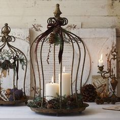 bird cage decor Candles in bird cages. I have a similar cage that I use as a bird feeder. Decoration Christmas, Fall Decor, Holiday Decor, Winter Holiday, Deco Table, Candle Lanterns, Christmas Inspiration, Bird Houses, Farmhouse Decor