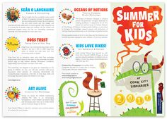 A brochure created for Cork City Libraries' Summer For Kids 2011, which features a bespectacled dragon on the cover, and his helpful squirrel pal on the back.