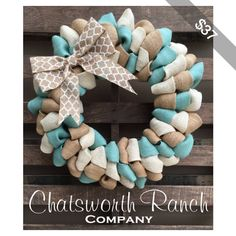 Chevron Burlap Door Wreath Winter & Coastal Summer Burlap Wreath Rustic Country Shabby Chic Winte