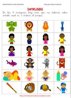 Intrusos. Orientación Andújar. Preschool Education, Preschool Worksheets, Oral Motor, 3rd Grade Art, Autism Resources, Dual Language, Kaizen, Spanish Class, After School