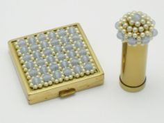 Rare Vintage CINER Moonstone Pearl Compact Lipstick Original Case #Jewelry #Pearl #Compact #Lipstick #Case #Vintage