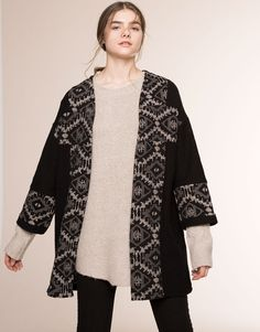 Pull&Bear - woman - kimonos & ponchos - ethnic thick kimono - black - 05580301-V2016