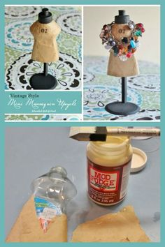 Create a mini mannequin from a dish soap bottle ~ perfect for holding small jewelry or as decor in a sewing or craft room.