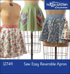 Sew Easy Reversible Half Apron | YouCanMakeThis.com