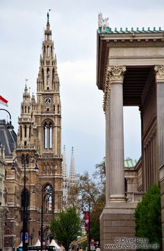 Vienna city hall (left) with Votivkirche (back) and parliament (right),Austria