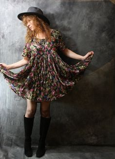 Vintage 1980s Dress // Hippie India Cotton  Baby by MajikHorse, $58.00