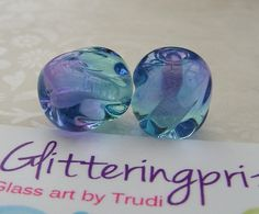 Lampwork Beads Glass Soft Purple and Blue by GlitteringprizeGlass, £4.25