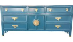 Dixie Shangri La Hollywood Regency Newly Lacquered Peacock Blue Dresser