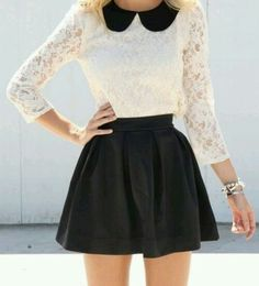 Lace and skirt outfit
