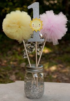 You Are My Sunshine Party Birthday Pink and Yellow Party Pink and Silver Centerpiece Table Decoration