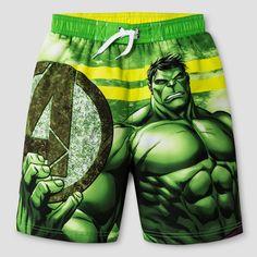 Boys' Hulk Swim Trunk Green/Black XS, Multicolored