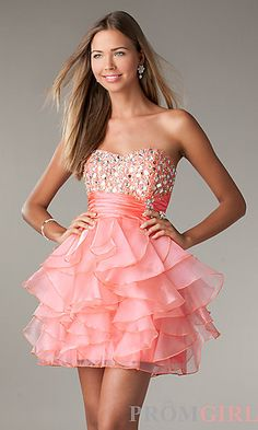 fe1f3c30231 Short Strapless Prom Dress with Ruffled Skirt by LA Glo at PromGirl.com  also in