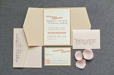 Gold Blush and Coral Floral Wedding Invitation  Gate by LamaWorks