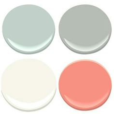 Benjamin Moore- PALLADIAN BLUE, COVENTRY GRAY, CORAL GABLES, MOUNTAIN PEAK WHITE