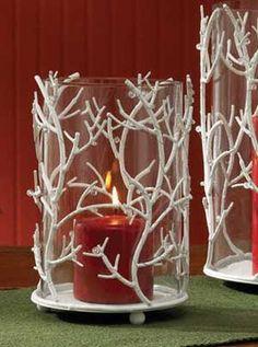 White Glitter Branch Candle Holder