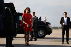 First Lady Melania Trump arrives to welcome U.S. President Donald Trump (not pictured) at West Palm Beach International airport