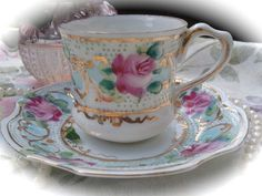 Demitasse Rose Tea Cup by aspecialteaplace on Etsy, $6.00