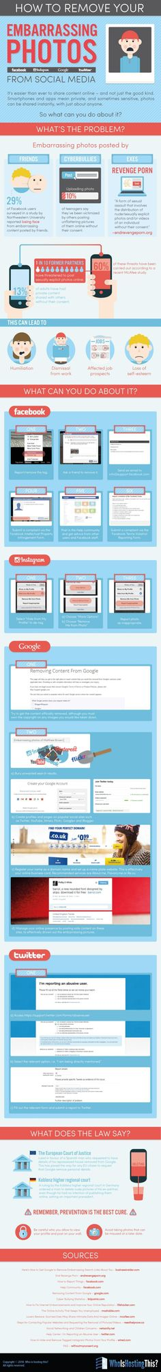It's easier than ever to share content on social media - and not just the good kind. Smartphones and apps mean private, and sometimes sensitive, photos can be shared instantly, with just about anyone. So what can you do about it? See this handy infographic that gives the detailed information on how to completely remove your unwanted images from Google search, Facebook, Twitter and Instagram!