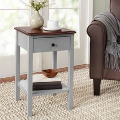 Side Table 1-Drawer Nightstand Furniture Bedside Storage Shelf Chair Sofa Gray #10SpringStreetHinsdale #Modern