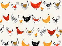 Chickens & Chicks   Bird illustration by Margaret Berg