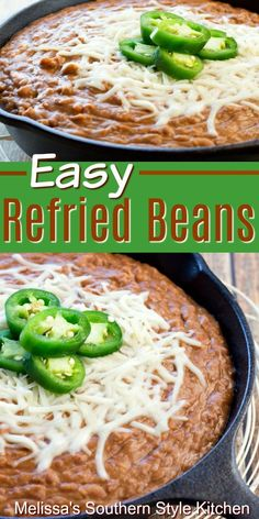 These Easy Refried Beans are packed with flavor recipes easy Refried Beans Recipe Easy, Mexican Beans Recipe, Authentic Mexican Refried Beans Recipe, Authentic Mexican Recipes, Easy Mexican Food Recipes, Easy Bean Recipes, Vegetarian Recipes, Cooking Recipes, Healthy Recipes
