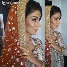 My late night Sehri bride. Products used for this look: Eyemakeup; Bridal Mehndi Dresses, Pakistani Wedding Dresses, White Wedding Dresses, Bollywood Style, Bollywood Fashion, Bridal Hair And Makeup, Wedding Makeup, Wedding Wishlist, Desi Wedding