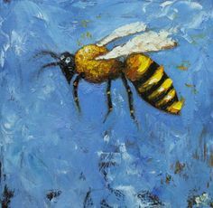 Bee painting original oil painting by RozArt on Etsy