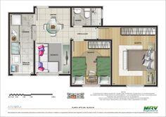 apartamento planta 2 quartos