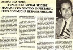 Recorte de prensa. Cristian Díaz Prado. 1993.