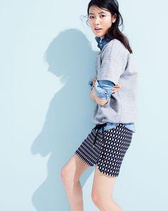 J.Crew women's short-sleeve drawstring sweatshirt and jet set geo mini skirt.