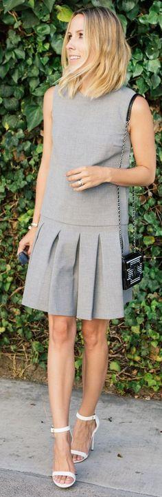 Diane Von Furstenberg Grey Swingy Inverted Pleats Mini Skirt by Damsel In Dior