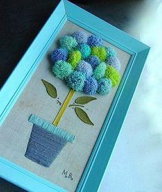 Pom-pom art Pompom Tree Art Framed by GoodlookinVintage Pom Pom Crafts, Yarn Crafts, Home Crafts, Diy And Crafts, Crafts For Kids, Arts And Crafts, Paper Crafts, Craft Projects, Projects To Try