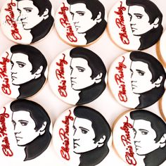 Elvis decorated sugar cookies. Celebrate the king of rock n roll by ordering your elvis themed cookies. Cookies are completely customizable. Call or email to order your celebration cookies today! #cookies #cookiedesserts #cookiedecorator #cookiedesign #sugarcookies #elvis #happybirthday #rocknroll #birthday #birthdayparty #dessert #desserttable