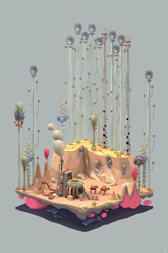 """Ecology Series, Erwin Kho: """"A series inspired by RTS games like Age of Empires and Starcraft mixed with my personal interest in flora & fauna and infographic-like cut-throughs of landscapes."""""""