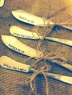 Upcycled Butter knife - Hand stamped silly gift - Silver plated butter spreader - you choose phrase on Etsy, $11.00